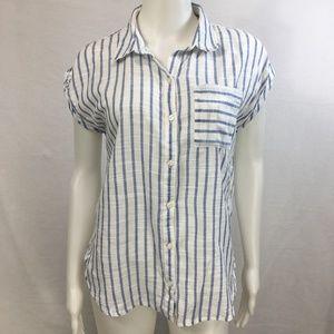 Abercrombie & Fitch white blue stripe M button